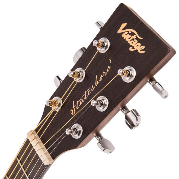 Vintage V880WK Paul Brett Statesboro' Parlour Acoustic Guitar - Headstock