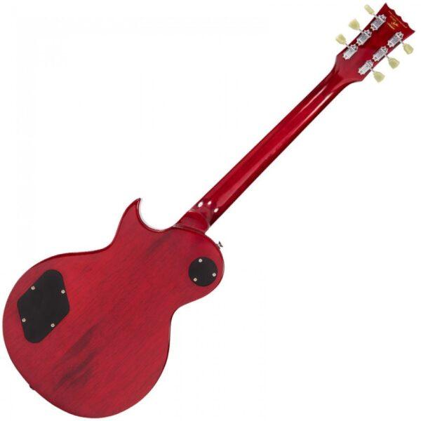 Vintage V100TWR Reissued Electric Guitar – Flamed Trans Wine Red - Back