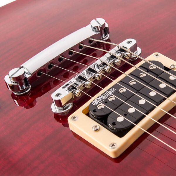 Vintage V100TWR Reissued Electric Guitar – Flamed Trans Wine Red - Bridge