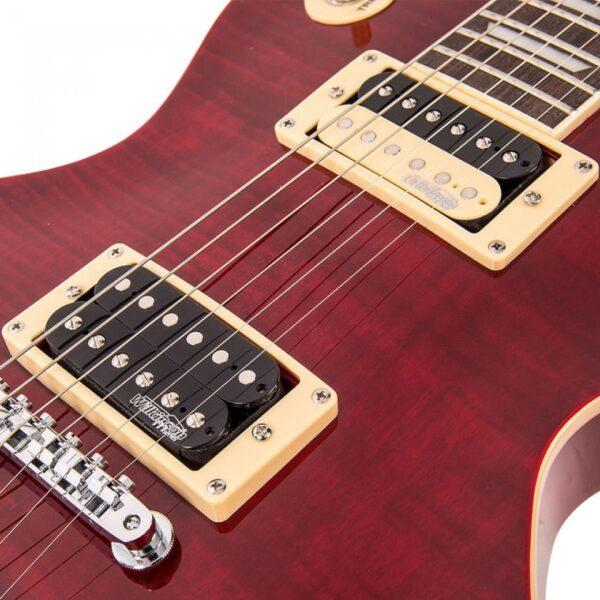 Vintage V100TWR Reissued Electric Guitar – Flamed Trans Wine Red - Pickups