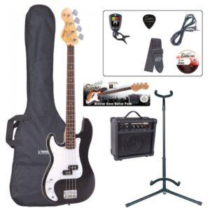 Encore E4 Bass Guitar Pack - Left Hand Black