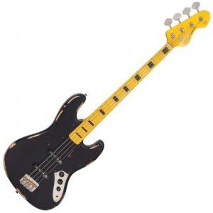Vintage VJ74 ICON Bass Guitar - Distressed Black