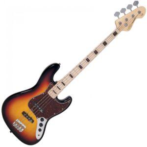 Vintage VJ74MSSB ReIssued Maple Fingerboard Bass - Sunset Sunburst