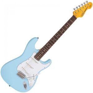 Vintage V6LB Reissued Electric Guitar - Laguna Blue - Front