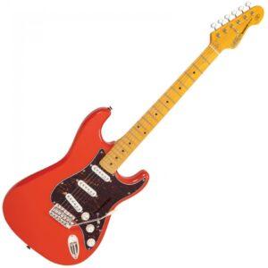 Vintage V6MFR Reissued Electric Guitar - Firenza Red - Front