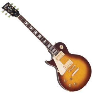 Vintage LV100TSB Reissued Electric Guitar - Left Hand Tobacco Sunburst - Front