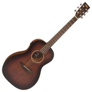 Vintage VE880WK Paul Brett Signature Statesboro Parlour Electro-Acoustic Guitar - Whisky Sour - Front