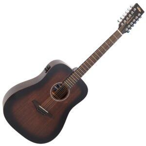 Vintage VE440WK-12 Paul Brett Statesboro Dreadnought Electro-Acoustic 12-String Guitar - Whisky Sour