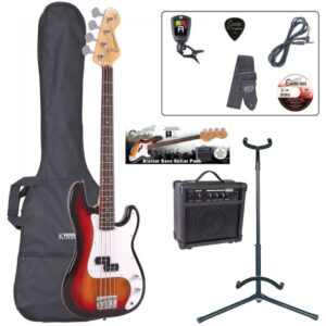 Encore E4 Bass Guitar Pack - Sunburst