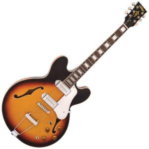 Vintage VSA500PSB Reissued Semi Acoustic Guitar - Sunburst - Front