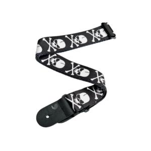 D'Addario Woven Guitar Strap - Cross Bone Skull